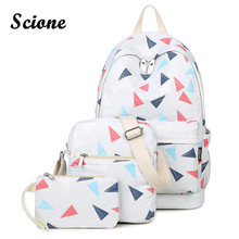СКИОНЕ простой стиль женщины холст школьный рюкзак 3 шт. Комплект Высокое качество школьные сумки студент Bookbag ноутбук рюкзаки для подростка
