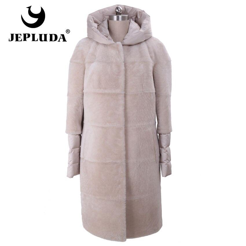 JEPLUDA New Ladies Magro Quente Para Baixo das Mulheres Com Capa De Couro Genuíno casaco de Pele Real Fur Vest Longo Tosquia de Ovelhas Casaco De Pele Real Natural