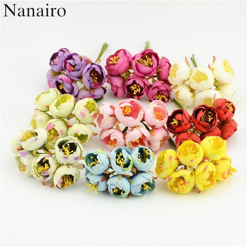 6pcs/lot 3cm Artificial Flowers Bud Simulation Flowers Small Silk Cloth Tea Roses  diy Handmade Home Wedding Ball Decoration