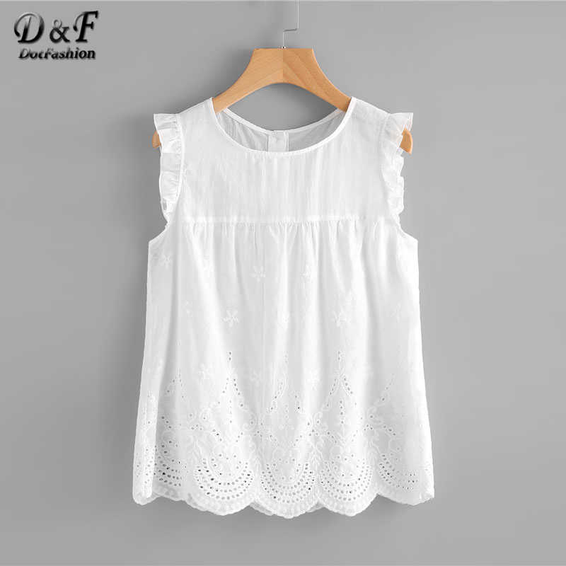 Dotfashion Eyelet Embroidered Scallop Hem Frilled Shell Top Women Round Neck Sleeveless Blouse 2019 White Cotton Summer Tops