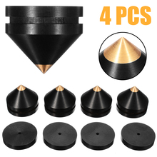Newest 4pcs 23mm Ebony Speaker Isolation Spike Wooden Copper Stand Feet+Base Pad+Adhesive Tape For Audio Amplifier Speaker mayitr speaker accessories 8pcs black desk feet base shoes pad pro stainless steel hifi speaker spike