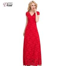 Comeondear Кружева Vestido пола длинное летнее платье 2017 Vestidos Mujer VP1044 короткий рукав линия красный долго кружевное нарядное платье