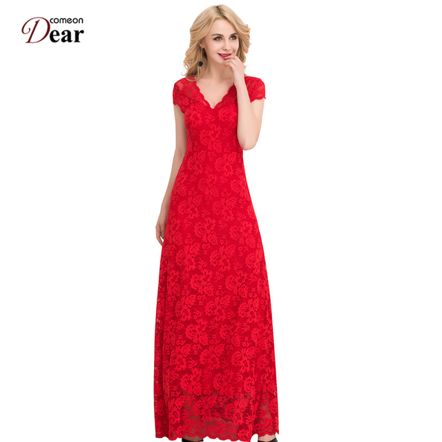 Comeondear Lace Vestido Floor-Length Long Summer Dress 2017 Vestidos Mujer VP1044 Short Sleeve A Line Red Long Lace Party Dress