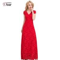 Comeondear Full Lace Vestido Floor Length Long Dress V Neck Summer Dress 2017 Vestidos Mujer VP1044