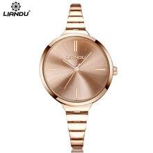 LIANDU Quartz Fashion Women Dress Watch Bracelet Rose Gold Wristwatches