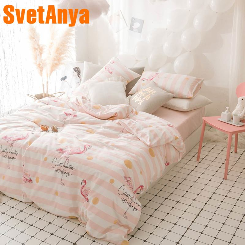 Svetanya Cotton Bedlinen Sheet Pillowcase Duvet Cover set Flamingo Pink series Bedding sets Single Queen Full