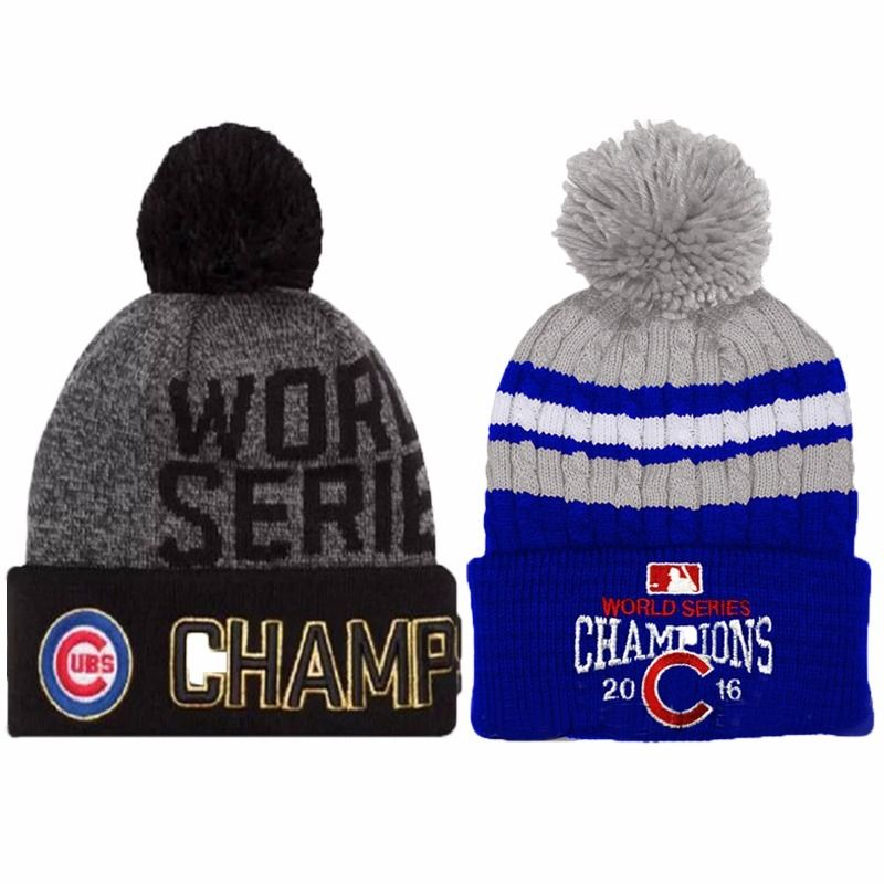 New Chicago Cubs 2016 World Series Champions Womens Mens Winter Warm Knitted Beanie Hat