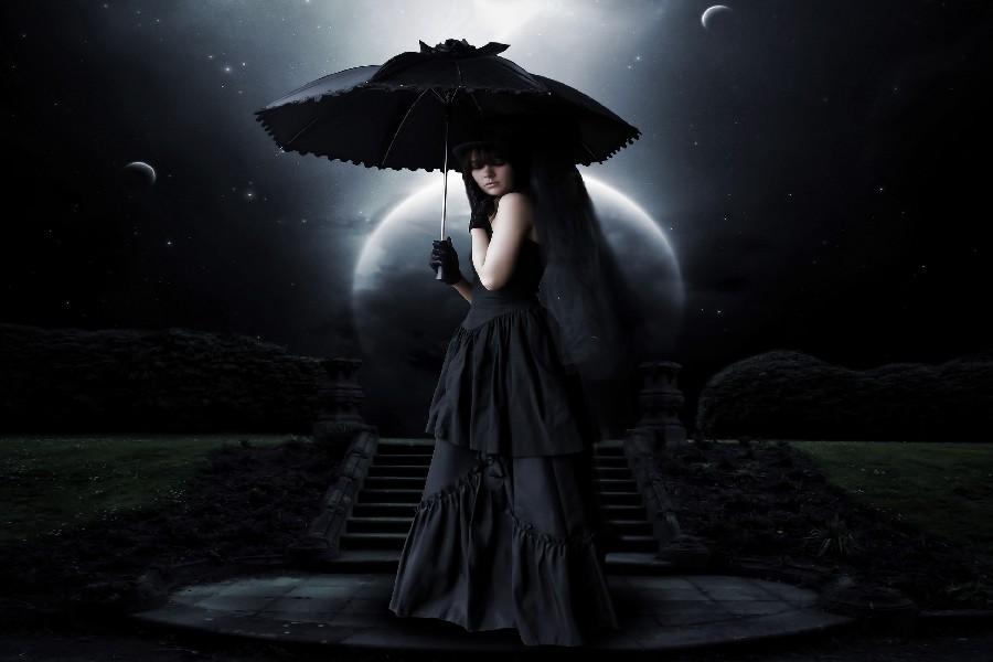 DIY FRAME Sad Sorrow Gown Gothic Girls Sci Fi Space Moon Moonlight Planets Night Pale Cloth Silk