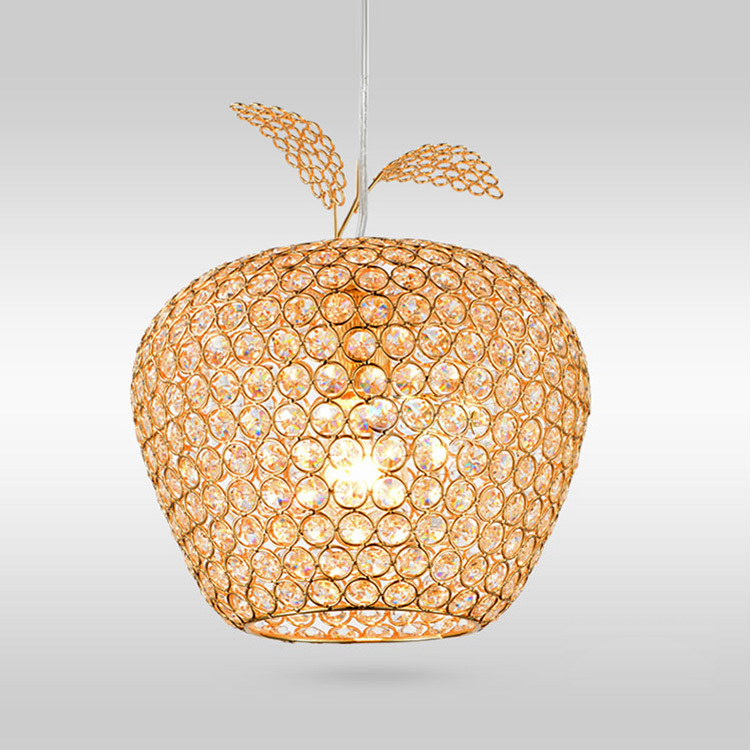 Modern Gold Crystal Apple Dining Room Chain Pendant Light Restaurant Bar Counter Pendant Lamp Corridor Balcony Pendant Lamp