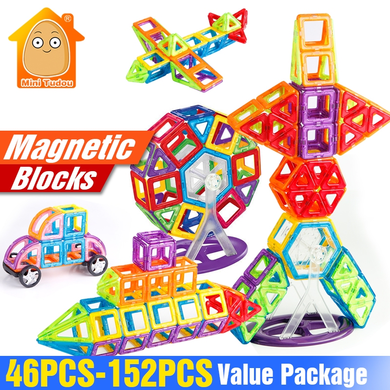 152-46PCS Magnet Toys Building Blocks Magnetic Construction Set Designer Kids DIY Educational Toys Games For Children 1 set magnetic building block toys for babys kids children magnets training children diy designer educational toys
