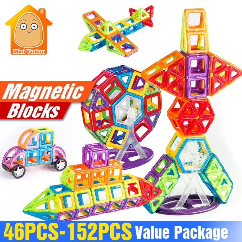 152-46PCS Magnet Toys Building Blocks Magnetic Construction Set Designer Kids DIY Educational Toys Games For Children