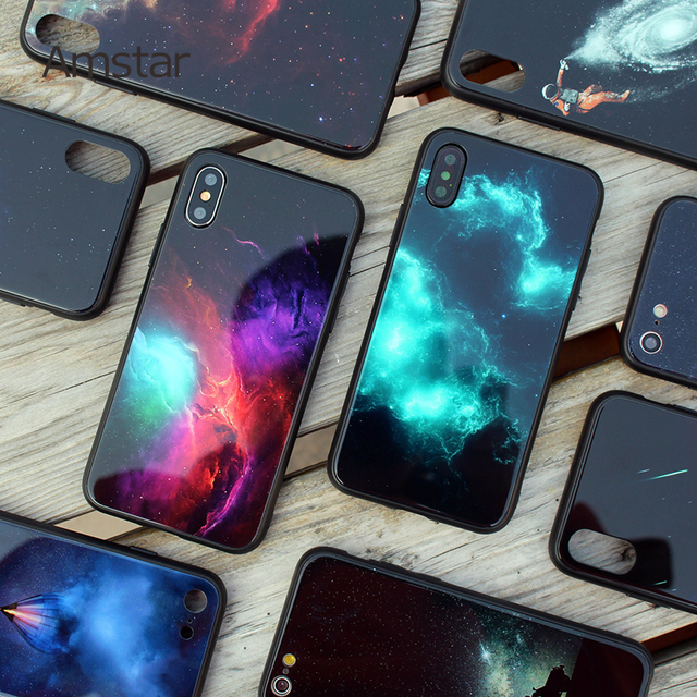 Amstar Tempered Glass Phone Case for iPhone 6 6S 7 8 Plus Case Soft TPU Anti-knock Phone Cases for iPhone X XS Max XR Cover