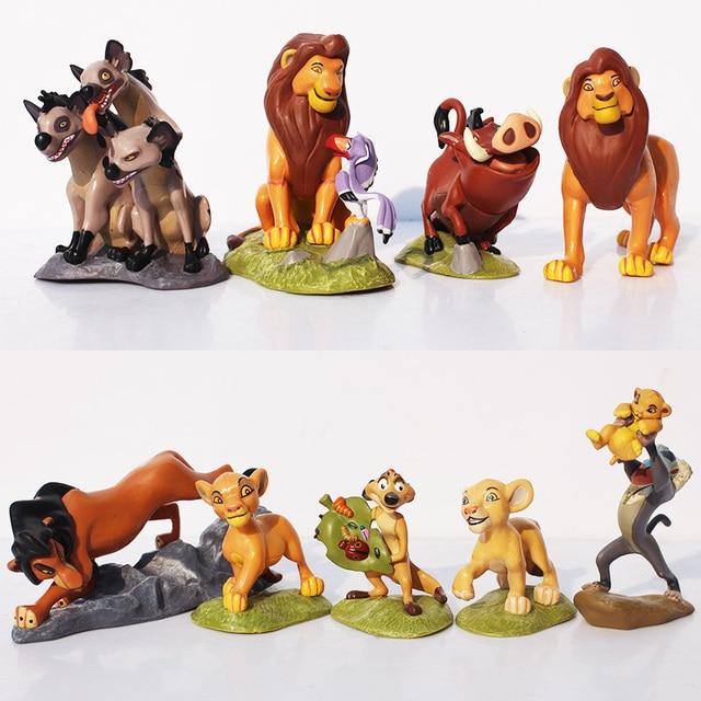 9 unids/set figuras del Rey León Simba Mufasa Nala hienas Timon Pumbaa Sarabi Sarafina cicatriz PVC figura de acción muñecas Juguetes 5 ~ 9 cm
