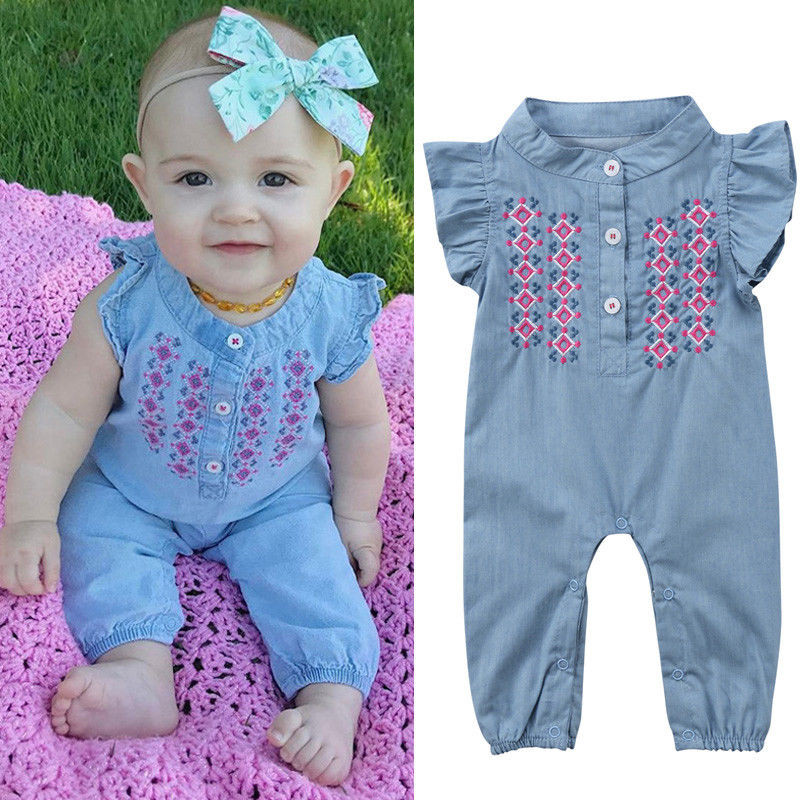 0 24m Newborn Baby Girl Embroidery Romper Fly Sleeve Denim Clothes