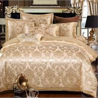 Jacquard Satin Bedclothes Bed Sheet Silk/Cotton Embroidered Duvet Cover Sets King Queen Size Tencel Bedding set Home decoration