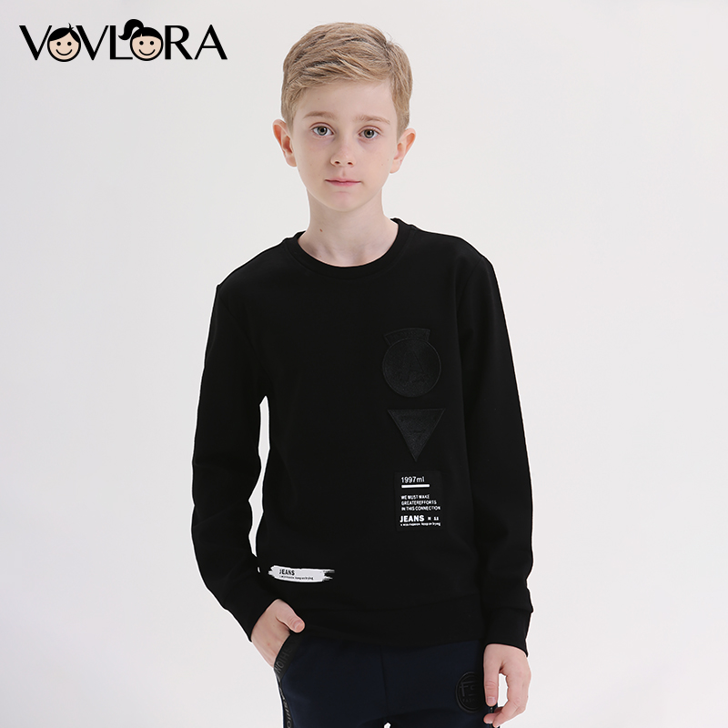 Summer Printed Long Sleeves Boys T Shirt Casual O Neck Kids T Shirts Tops Children Sweatshirt Size 7 8 9 10 11 12 13 14 Years blue lace up design chimney collar cold shoulder long sleeves t shirts