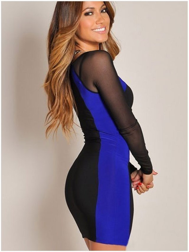 Women dresses Autumn 2015 Hot vestidos curtos Fashion Black White patchwork  Hourglass Mesh Long Sleeves Bodycon Mini Party Dress-in Dresses from Women s  ... 2d59cd103d26