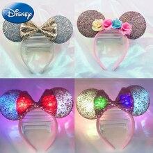 Disney Girl Женская осветительная повязка головной убор аксессуары мультфильм Микки Минни дети Kawaii плюшевая повязка для волос ленты вечерние игрушки подарок
