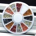 6 Colores Mezclados Estilo Esmalte Pernos Prisioneros Del Remache 3d la Parte Posterior Plana Redonda Joyería Rueda acrílico Gel UV Manicura Herramientas Consejos de Arte Decoración