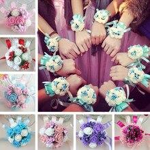 Ramillete de muñeca para dama de honor, flores artificiales para novia, decoración para bailar de boda, nupcial fiesta
