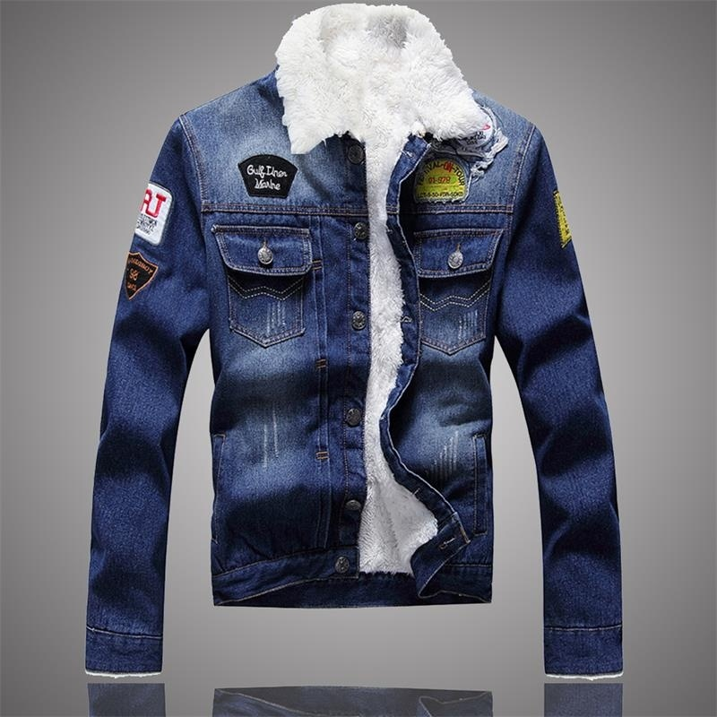 Men Jacket and Coat Trendy Warm Fleece Denim Jacket 2019 Winter Jean Jacket Thick Winter Coat For Male Classic Solid Outerwear-in Jackets from Men's Clothing
