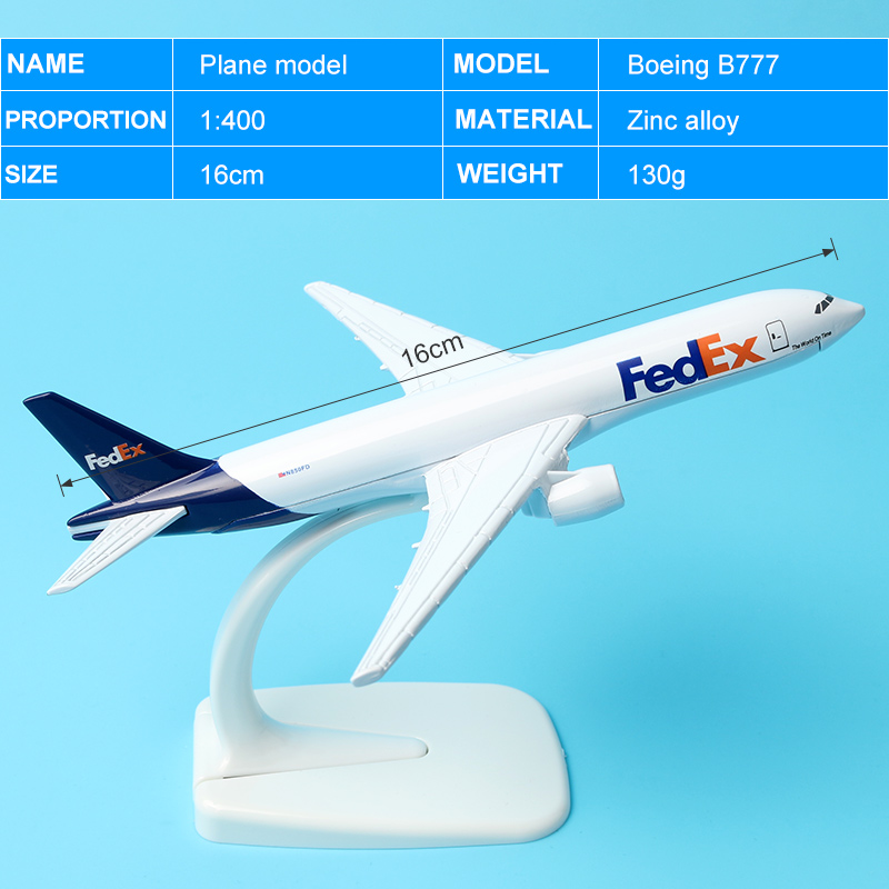 Air FedEx Express B777 Airlines Boeing 777 Airways Plane Model Aircraft 16cm Alloy Metal Airplane Model w Stand Gift phoenix 11074 vietnam airlines vh a143 1 400 b777 200er commercial jetliners plane model hobby
