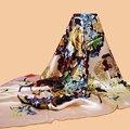 """Huajun     бренд шарф """"Цветы"""" 140 большой шелковый шарф 100% шелк тутового атлас печатных Шарф, Шаль"""