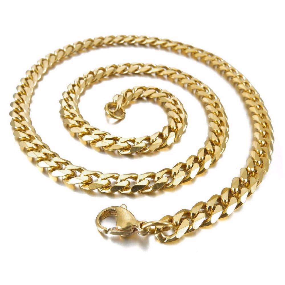 6642d1e14069 Joyería encantadora diseñado para la suave plata de acero inoxidable collar  de cadena de los hombres de dos colores oro y plata Tamaño 7mm   600mm
