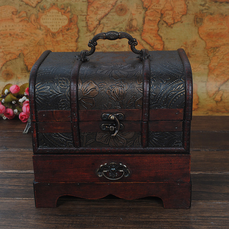 European retro Chinese antique wooden jewelry box dressing table