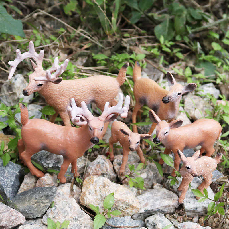 Sale 1pc Christmas Family of Three Static Simulation Doll Cute White-tailed  Reindeer Home Decoration