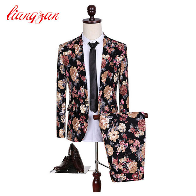 (Jackets+Pants) Men Floral Fashion Suit Sets Slim Fit Tuxedo Party Dress Suits Brand Cotton Plus Size M-5XL Wedding Suits F2108