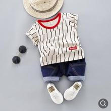 Kids Clothes Set 2019 Summer Stripe Childrens Short-sleeved Suits Toddler Baby Clothing Boys Girls for 0-4 Y SY-F192207
