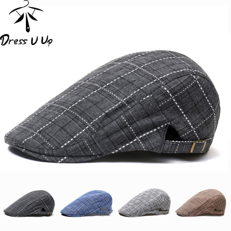 DRESSUUP Autumn Winter Men Cap Hats Berets British Western Style Wool Advanced Flat Ivy Cap Classic Vintage Striped Beret Cap