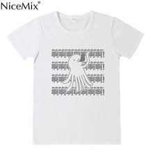 NiceMix Hot Octopus+Words Cute Loose T-Shirt Anime Summer Cotton T Shirt Fashion Casual Sweet Short Sleeve TEE Tops Color White цена