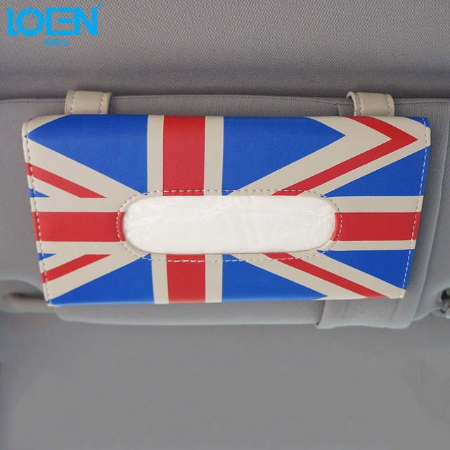 Estilo europeu Tecido Microfibra Pendurado saco de Pala de Sol Do Carro Auto caixa para o REINO UNIDO bandeira saco decorativo Carro universal para toyota audi