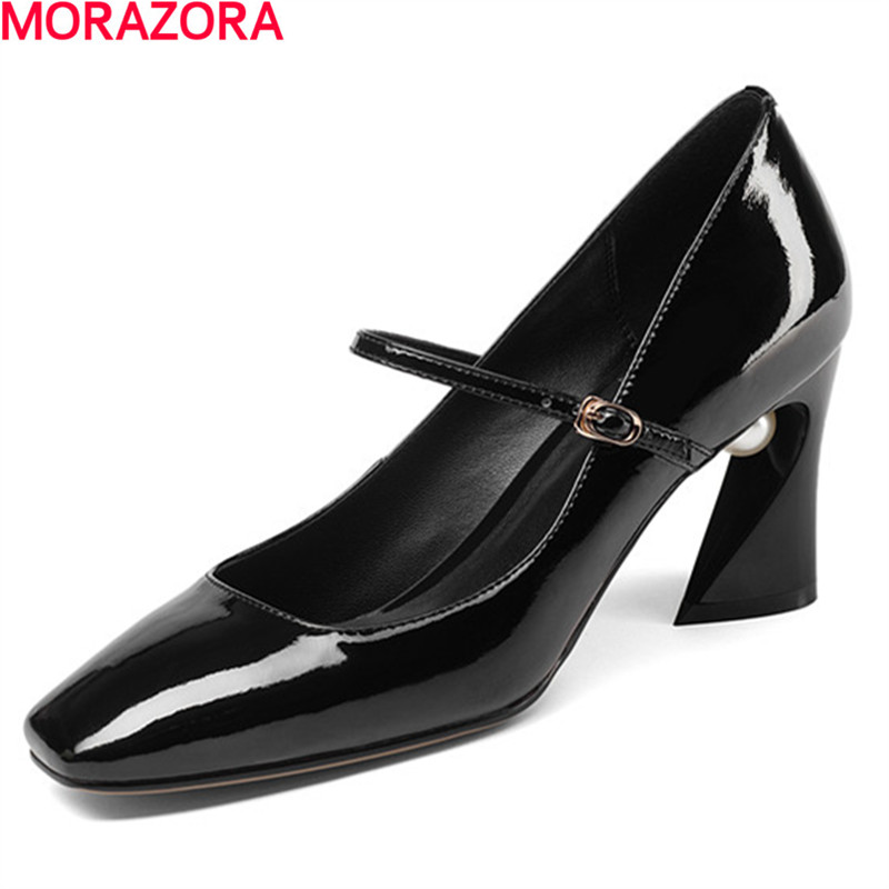 MORAZORA simple spring autumn square heels shoes woman fashion elegant party shoes square toe women pumps solid big size 34-43 new fashion spring autumn women shoes square toe patent leather med heels women pumps dress shoes small big size 32 46 0154