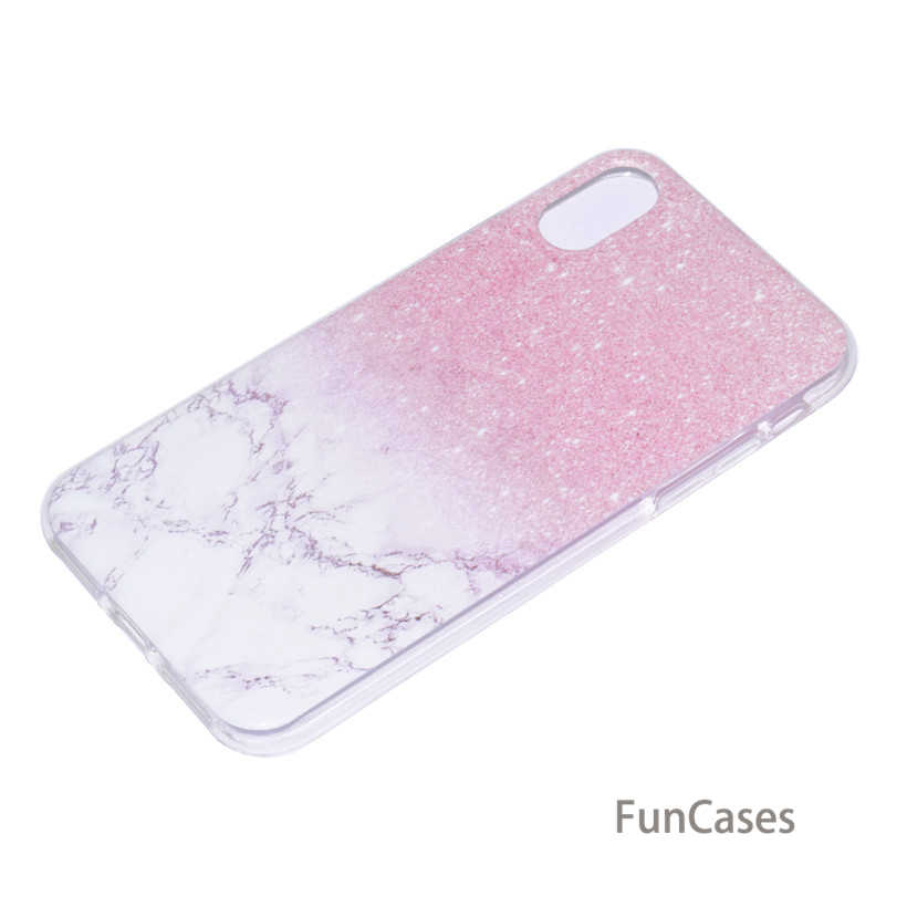 Case untuk iPhone X Silikon Case untuk iPhone 5 5S SE 6 7 8 Plus Case Transparan Lembut TPU bunga Marmer Penutup Belakang Ipone Phon