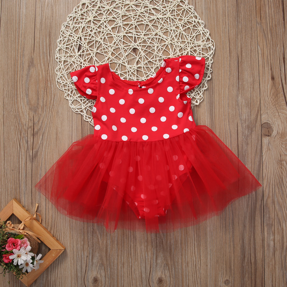 Infant 0-3Y Girl Kids Summer Clothes Set Minnie Mouse Princess VintageTulle Polka Dot Romper Lace Dress Wedding Party Dresses