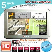 Новинка 5 дюймов HD gps автомобильный навигатор Процессор 800 МГц FM/8 GB/DDR3 Карты для Европы/США+ Канада грузовик Navi фургонов
