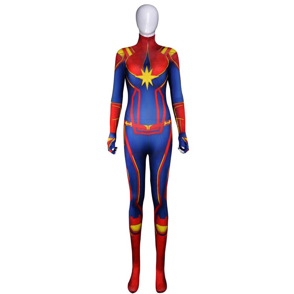Kaptan Marvel Cosplay Kostüm Avengers Süper Kahraman Carol Dansçı Tulum Seksi Cosplay Zentai Suit Cadılar Bayramı kostüm