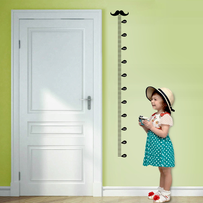 Cartoon Moustache Height Measure Wall Art Decals Living Room Home Decoration Diy Wall Stickers Growth Chart Pvc Mural Kids Gift