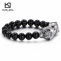 Kalen Hip Hop African Black Glass Beads Bracelets Men S Stainless Steel Animal Tiger Head Charm