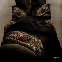 Pure Cotton Home Textiles Duvet Cover Bed Sheets Pillowcase Bed in a Bag 3D Animals Print Leopards Bedding Set Queen Size