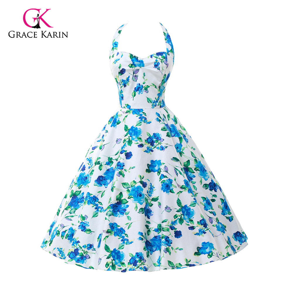 1cf7f507348 Womens Summer Style 50s 60s Vintage Audrey hepburn pin up dresses  Rockabilly Retro Floral print casual Party clothing Plus Size