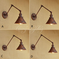 Vintage Industrial Umbrella Wall Lamp Adjustable Swing Arm Sconce Porch Bedroom Balcony Stair Restaurant Bar Wall