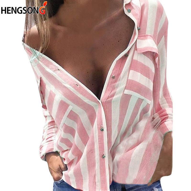 <font><b>2018</b></font> <font><b>Autumn</b></font> <font><b>Sexy</b></font> Long Sleeve Blouses Women Turn Down Collar Striped Shirt Office Blouse Ladies Tops Blusas Mujer Plus Size image