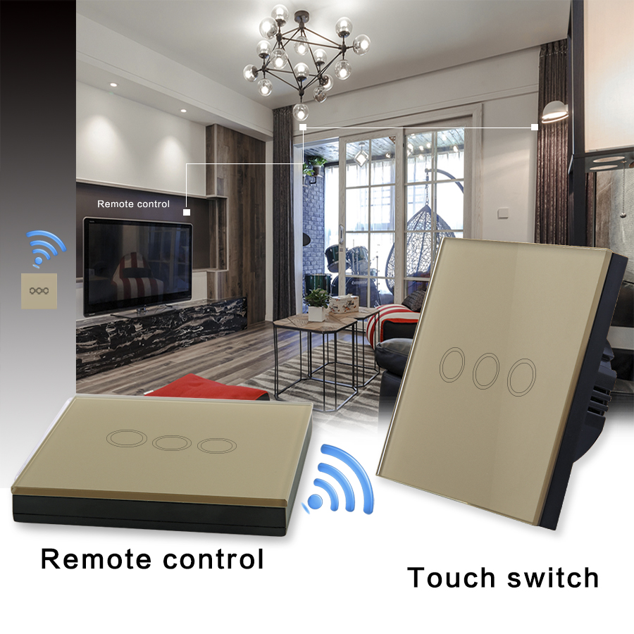 VHOME EU/UK Wireless remote control and touch switch, smart home glass crystal panel corridor light 170-240V RF433Mhz broadlink tc2 us au uk eu 3gang switch smart home automation phone remote wireless wall light touch switch crystal glass panel