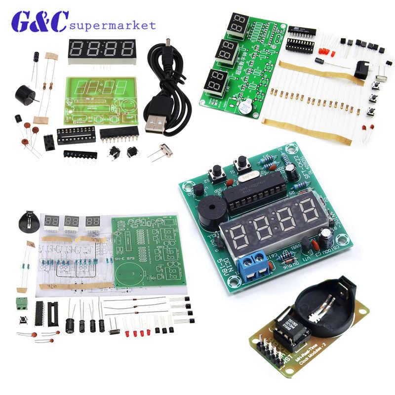 AT89C2051/DS3231 Kỹ Thuật Số DIY Kit Đồng Hồ Điện Tử Bộ Kit TỰ LÀM 6 Bits Bộ Phận Điện Tử và Linh Kiện Điện Tử DIY Kit
