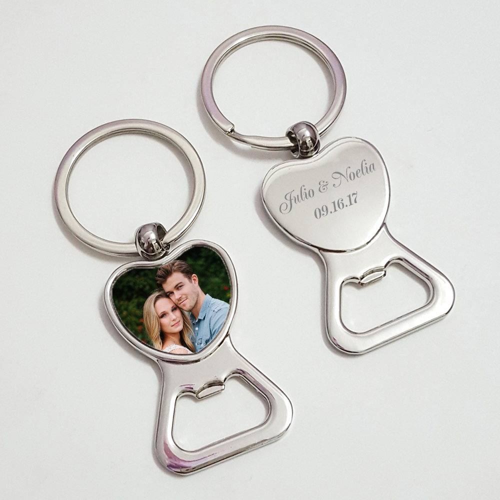 Love Heart Keychain Bottle Opener Personalized Wedding Favor Souvenir Custom Photo Picture Key Holder Beer Bottle Openers 100pcs-in Party Favors from Home & Garden    1