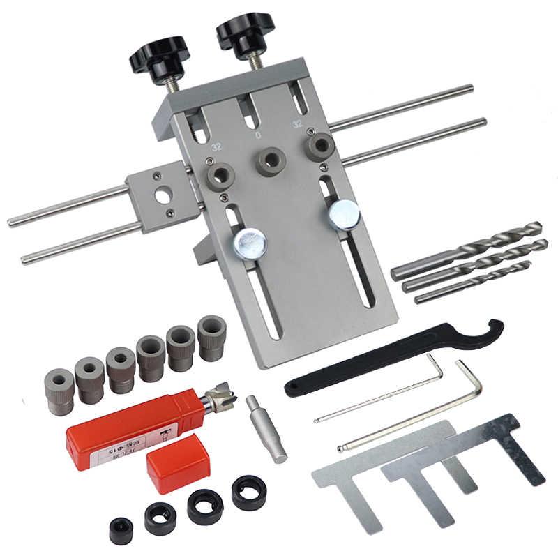 מקצוע נגרות אגרופן איתור עץ Doweling לנענע מתכוונן קידוח מדריך עבור DIY ריהוט חיבור עמדת כלים